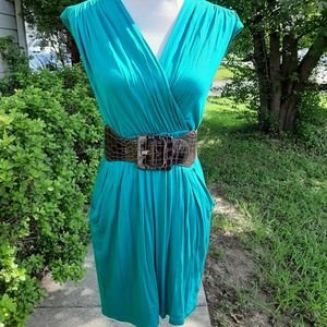 Teal Belted Tunic Dress